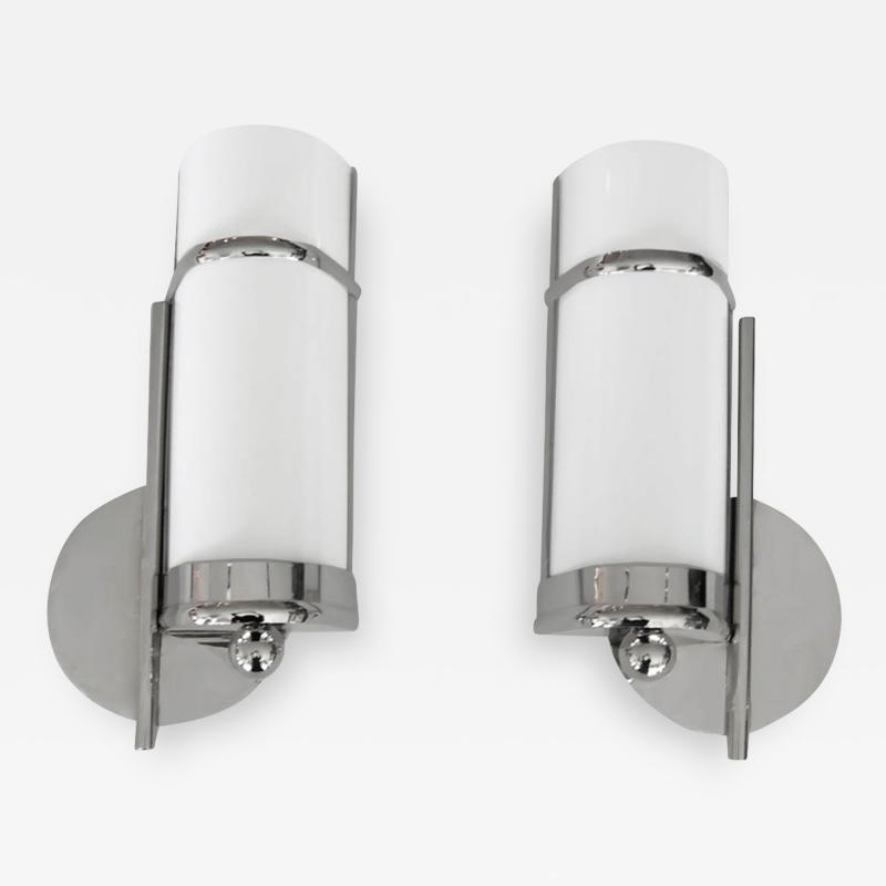 Pair of 1930s Bauhaus Style Streamline Sconces in Nickel w Bent White Glass