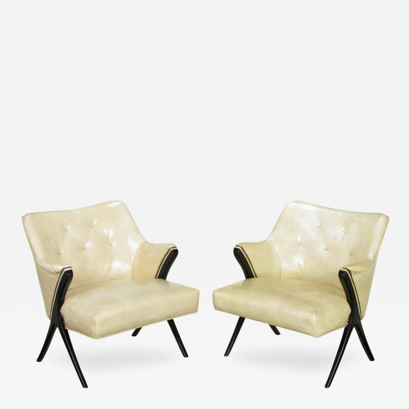 Pair of 1940s Modernist Club Chairs in Original Bone Glazed Leather