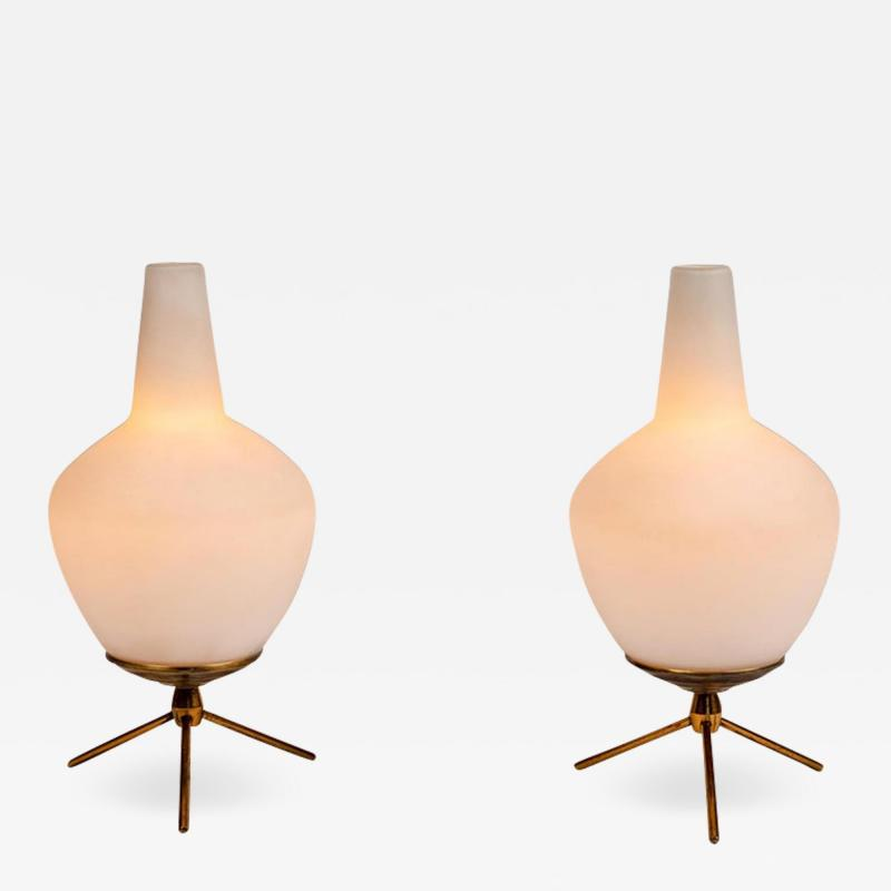 Pair of 1950s Glass Brass Tripod Table Lamps Attributed to Stilnovo