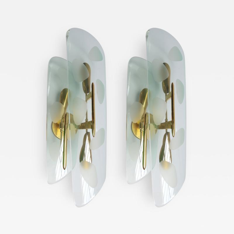 Pair of 1950s Italian Sconces with Etched Glass and Brass Frames