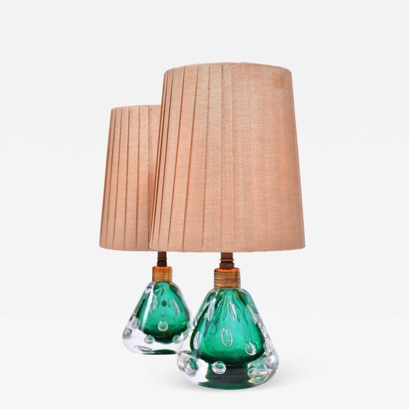 Pair of 1950s Italian emerald green Murano table lamps