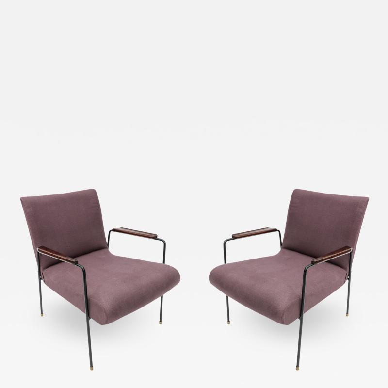 Pair of 1960s Brazilian Jacaranda and Metal Armchairs in Violet Linen