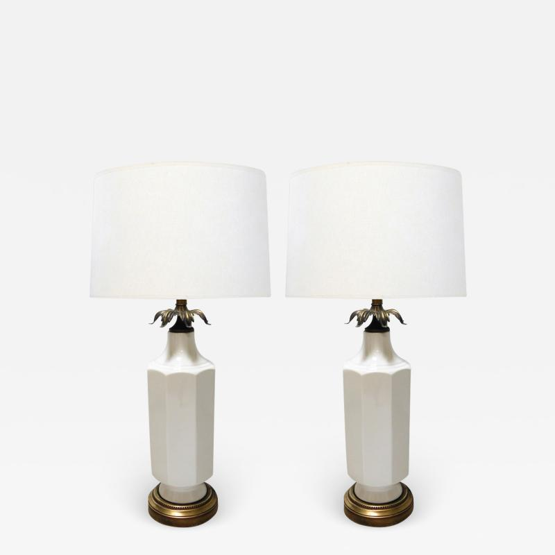 Pair of 1960s White glazed Octagonal Lamps with Bronze Foliate Fittings