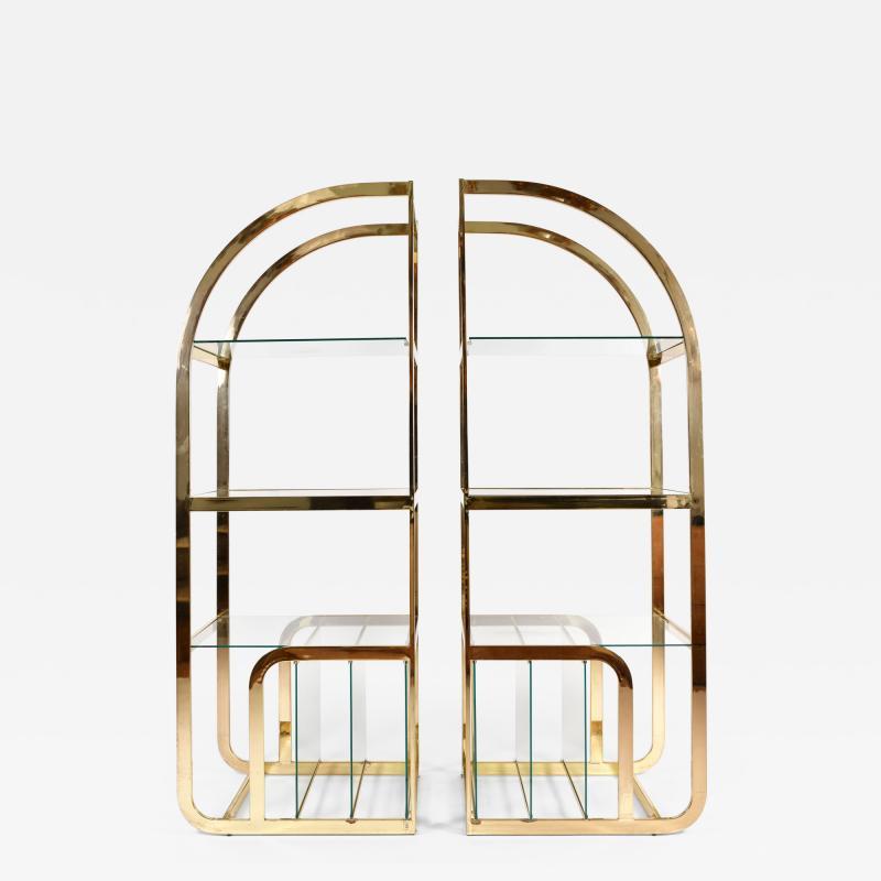 Pair of 1970s Mid Century American brass display shelves room divider