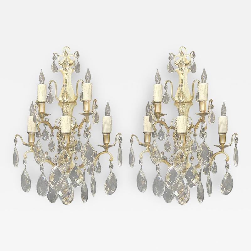 Pair of 19th C Baccarat Quality French Crystal Sconces