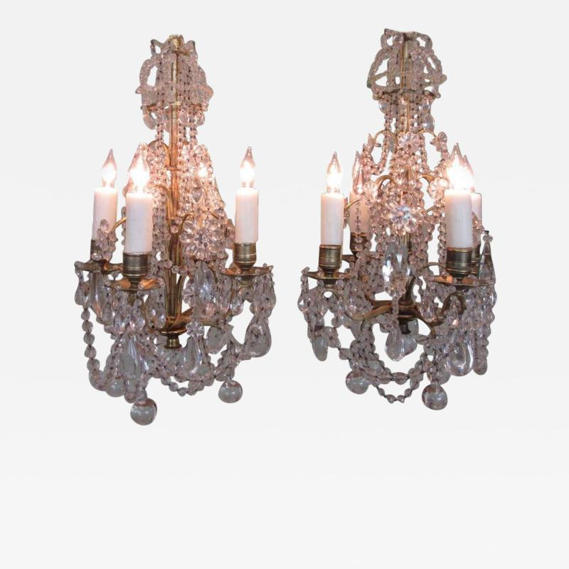 Pair of 19th C French R gence Crystal and Bronze Chandeliers