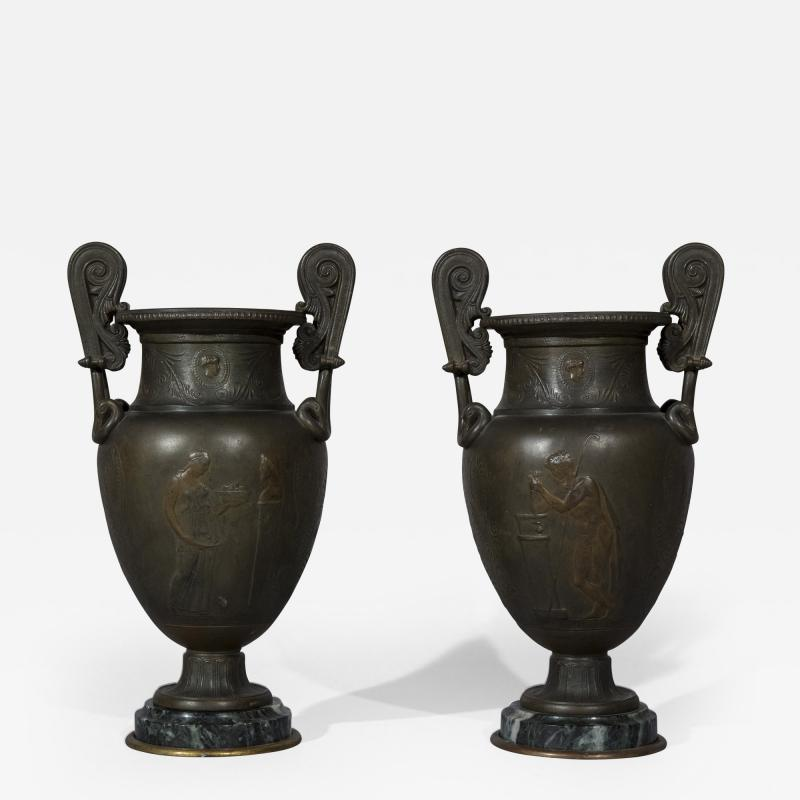 Pair of 19th Century Grand Tour Greek Bronze Volute Krater Vase Lamps
