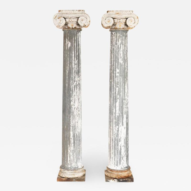 Pair of 19th Century Iron Zinc and Terracotta Ionic Capital Columns