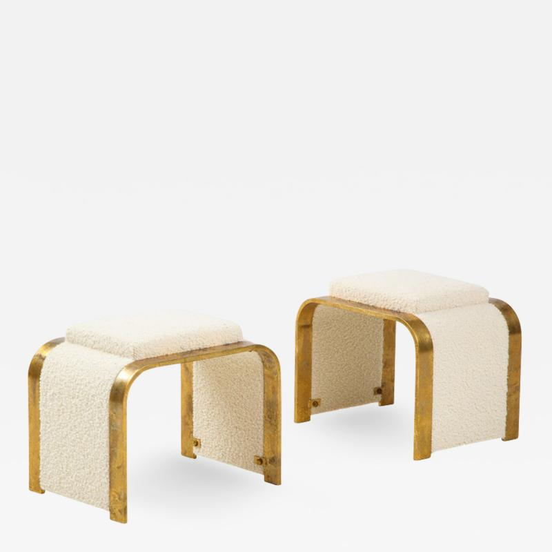 Pair of 24k Gold Gilt and Ivory Boucle Waterfall Stools or Benches Italy 1970