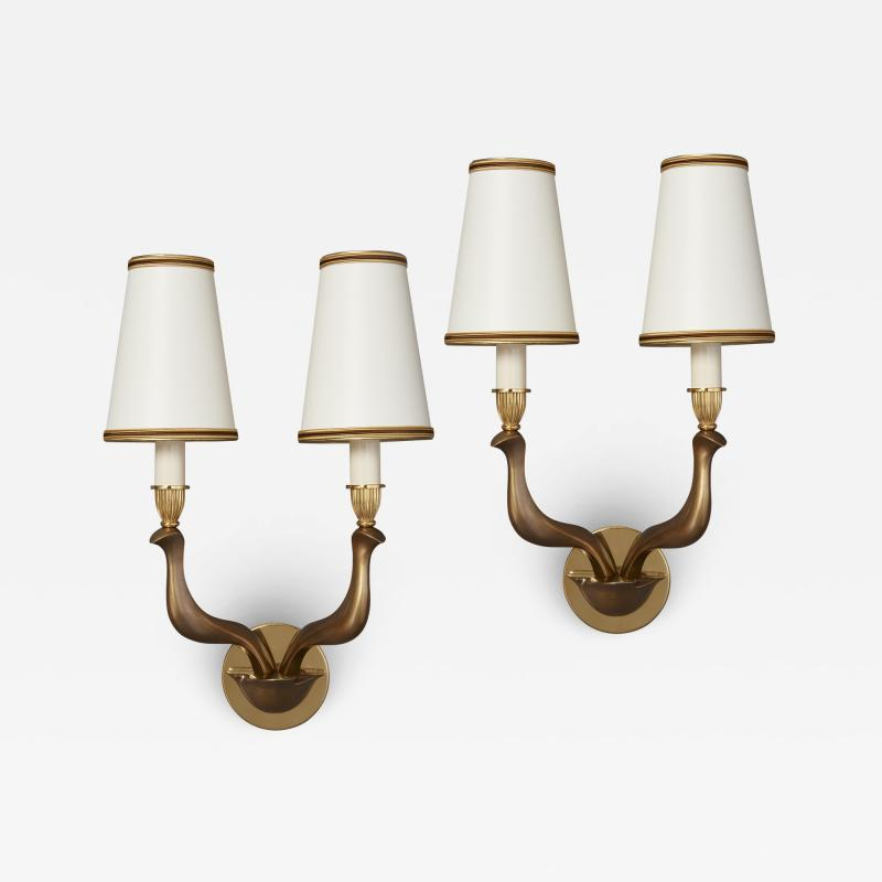Pair of Abstracted Bird Bronze Sconces Italy 1960s