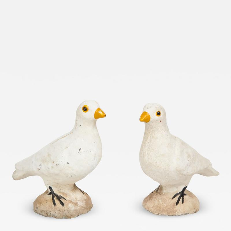 Pair of Adorable Cast Cement Doves