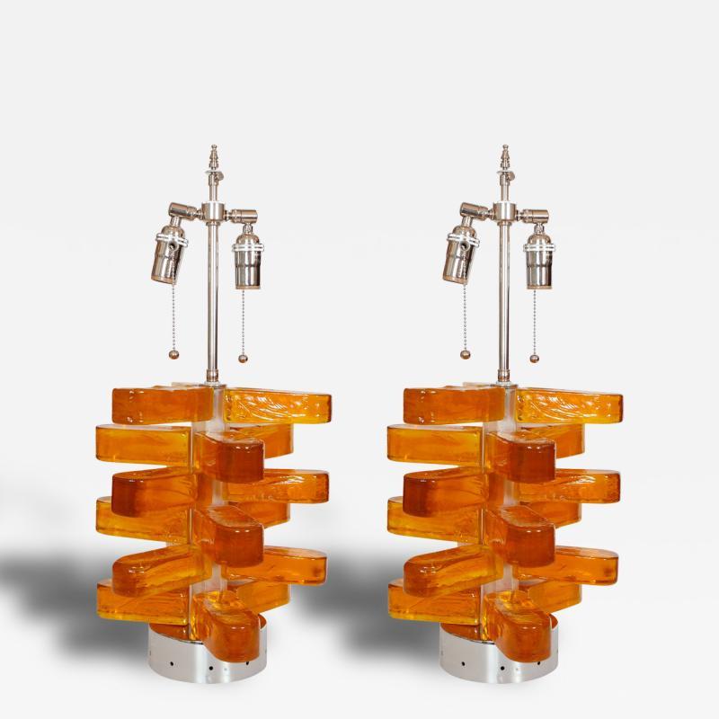 Pair of Amber Murano Glass Lamps