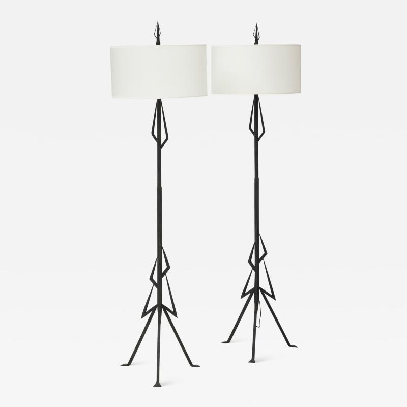 Pair of American Art Deco wrought iron floor lamps