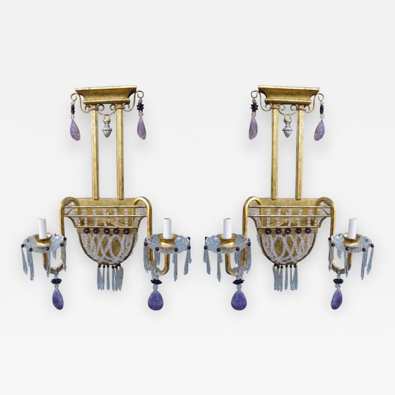 Pair of Amethyst Rock Crystal Sconces