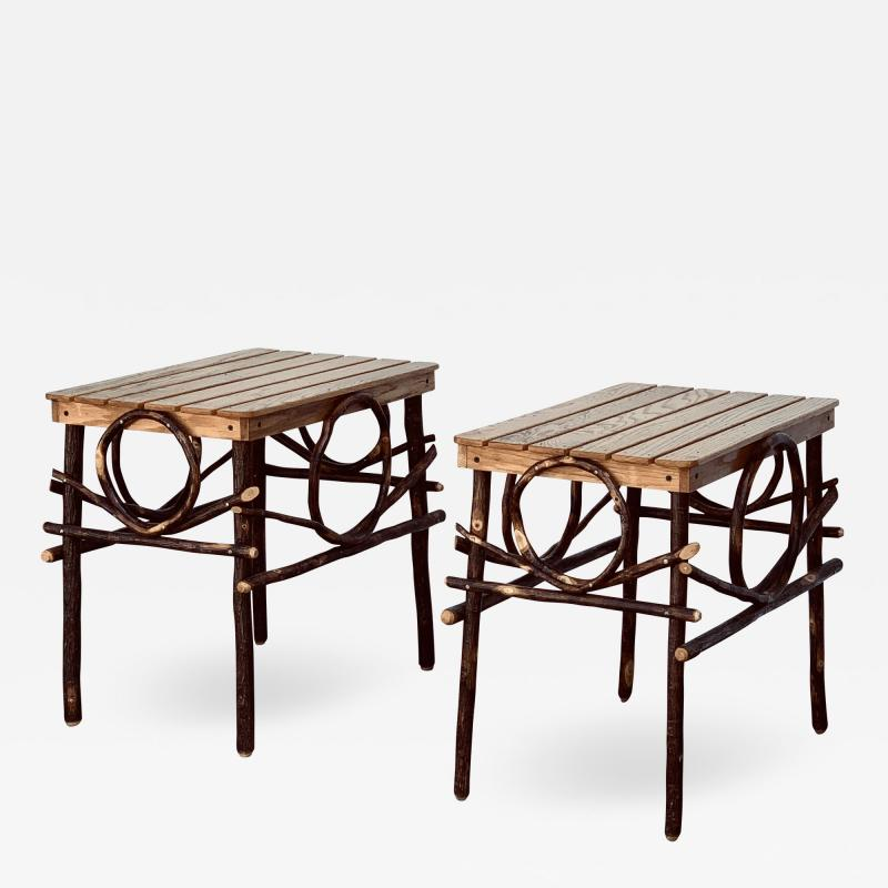 Pair of Amish Oak and Twig Side or End Tables by Alvin Herschberger