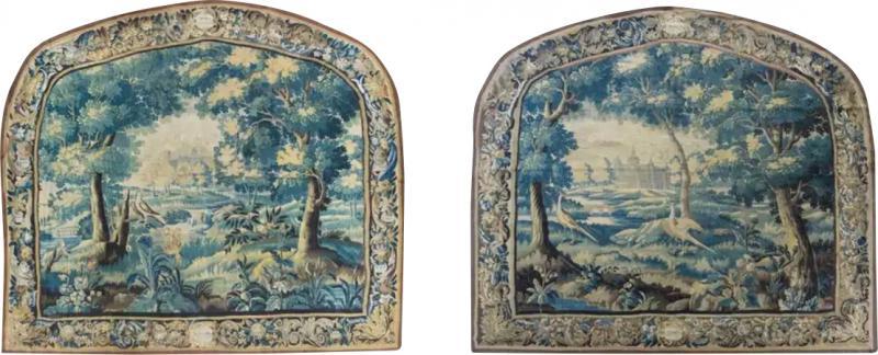 Pair of Antique 17th Century Flemish Verdure Landscape Tapestry with Birds