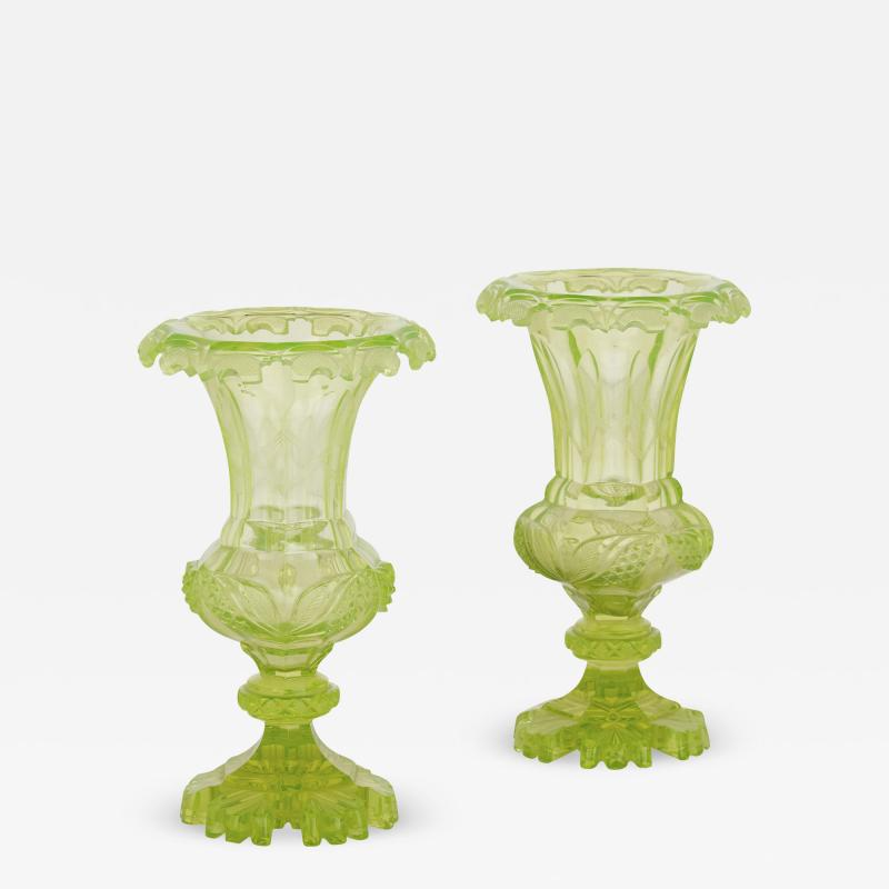 Pair of Antique 19th Century Bohemian Green Cut Glass Vases