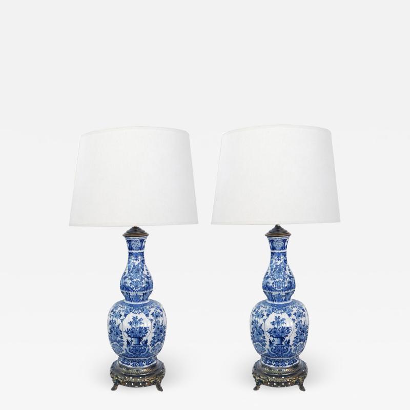 Pair of Antique Dutch Delftware Blue White Double baluster Lamps