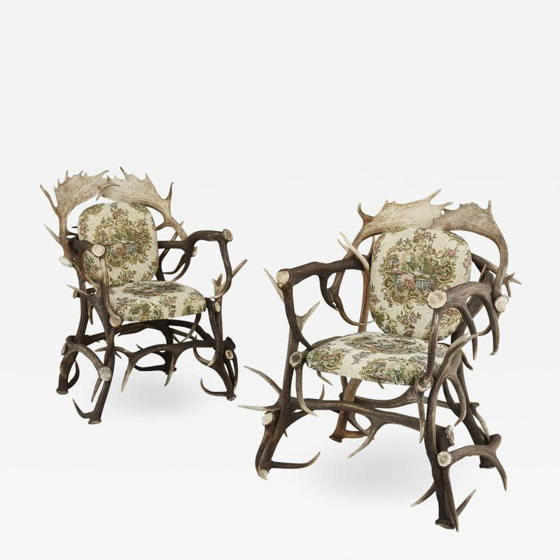 Pair of Antique German Antler Chairs with Rococo Style Upholstery