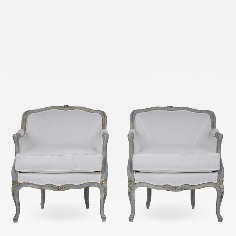 Pair of Antique Painted Louis XV Style Bergeres