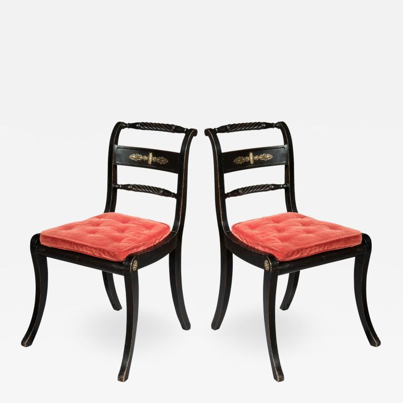 Pair of Antique Regency Painted Klismos Chairs