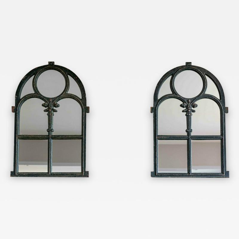 Pair of Arched Cast Iron Reclaimed Window Mirrors