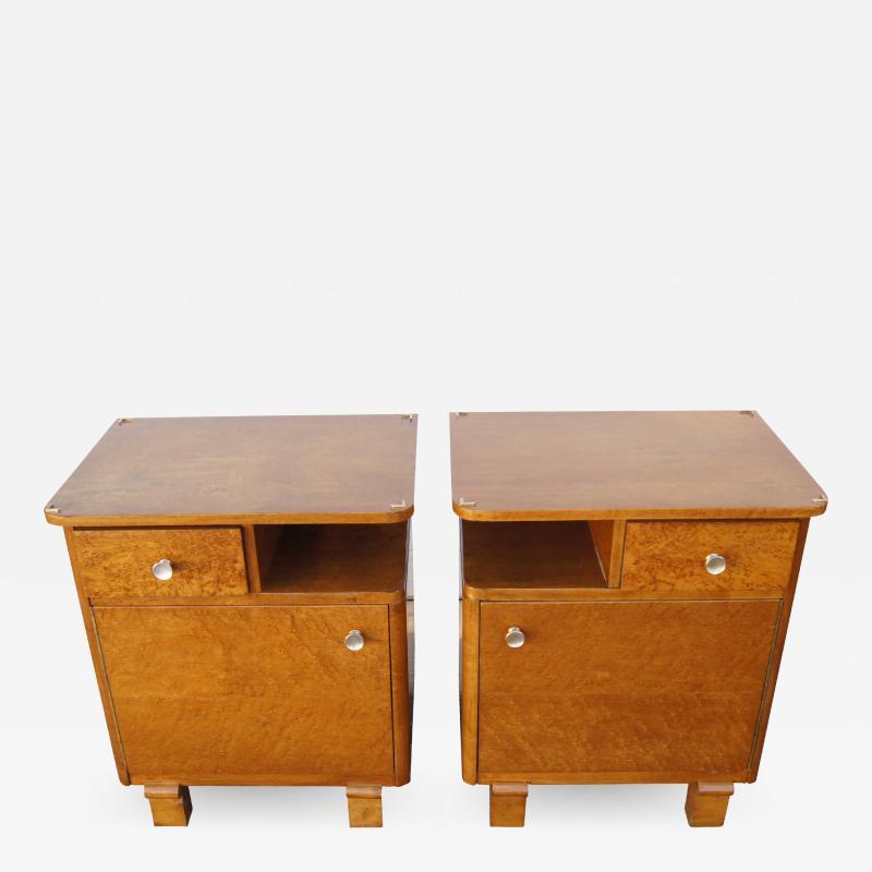 Pair of Art Deco Burl Wood Nightstands