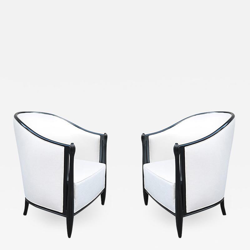 Pair of Art Deco Ebonized Bergeres