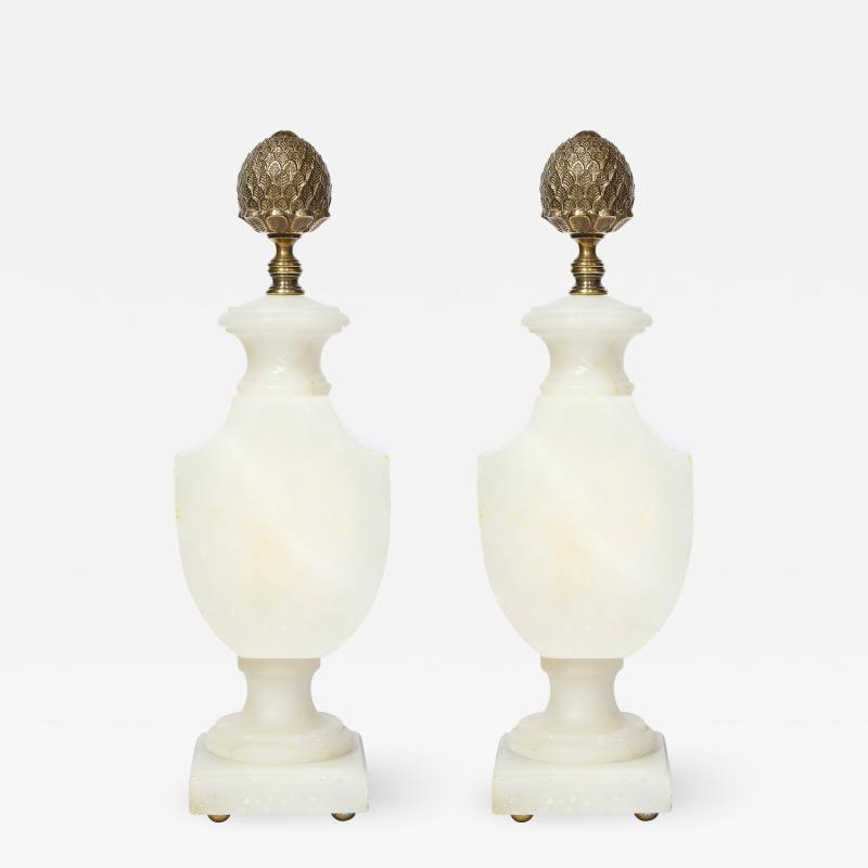 Pair of Art Deco Hollywood Alabaster Table Lamps w Bronze Pommes de Pin Finials