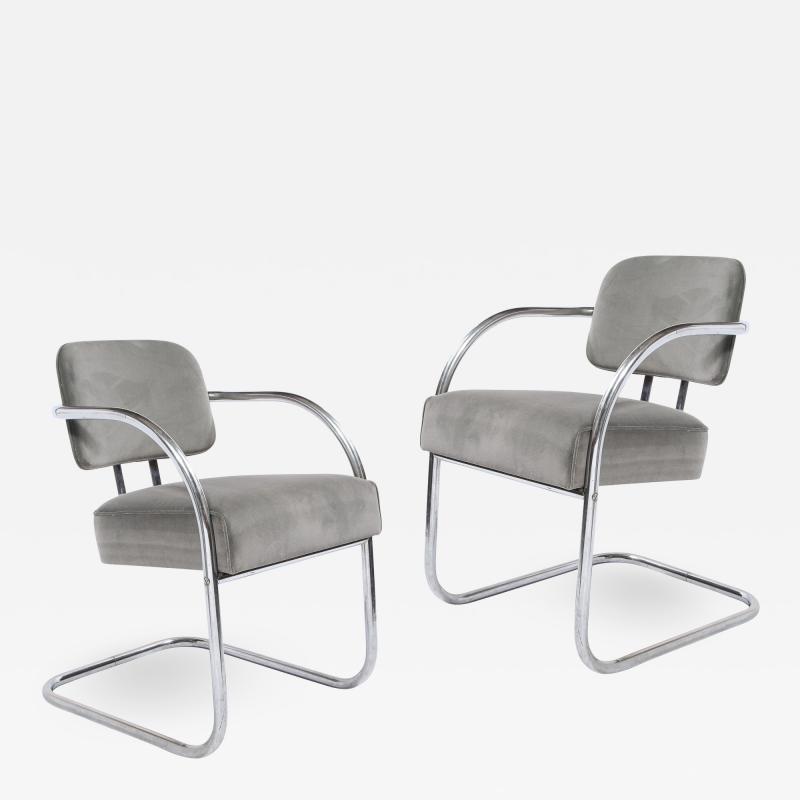 Pair of Art Deco Machine Age Bent Aluminum Platinum Velvet Occasional Chairs