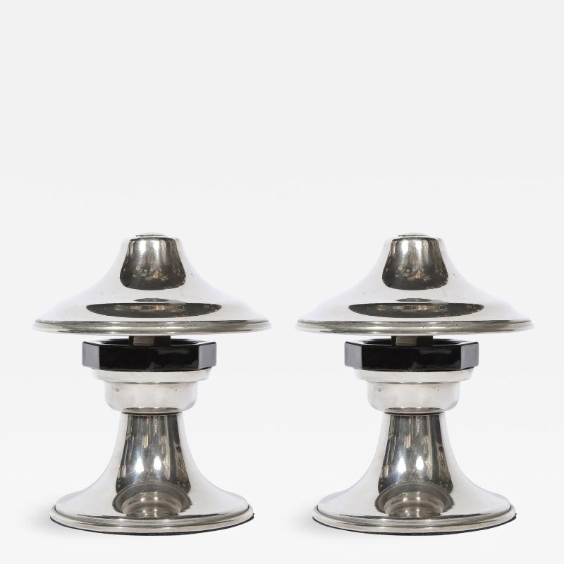 Pair of Art Deco Machine Age Sculptural Chrome and Bakelite Table Lamps