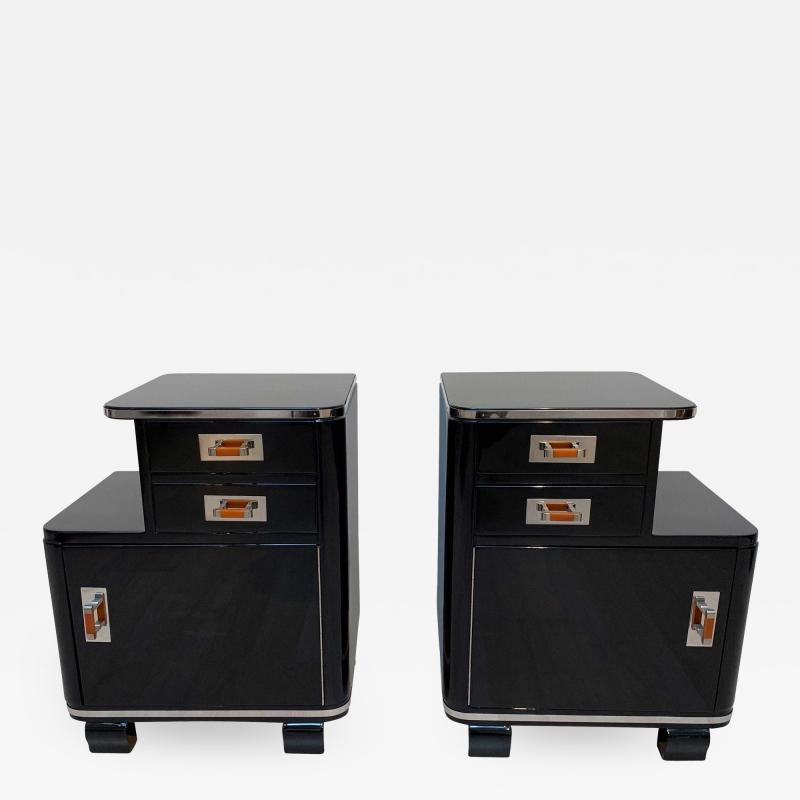 Pair of Art Deco Nightstands Black Piano Lacquer and Nickel France circa 1930
