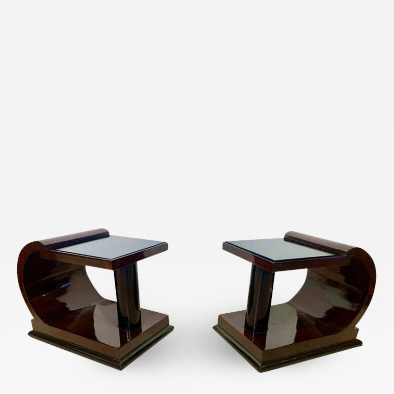 Pair of Art Deco Side Tables Rosewood Ebonized Black Glass France 1930s