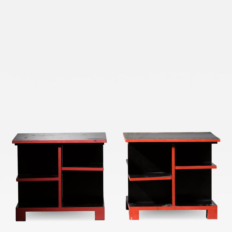 Pair of Art Deco black and red side tables