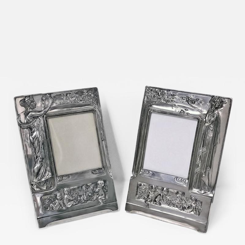 Pair of Art Nouveau Large Silver Plate Photograph Frames Germany C 1900