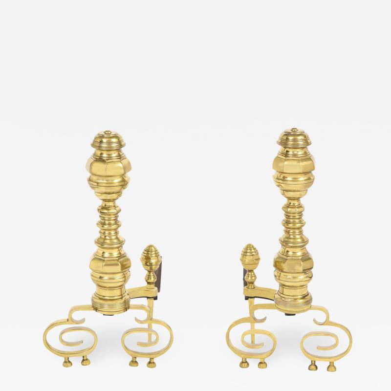 Pair of Artisan Andirons in Polished Brass and Wrought Iron 1970s
