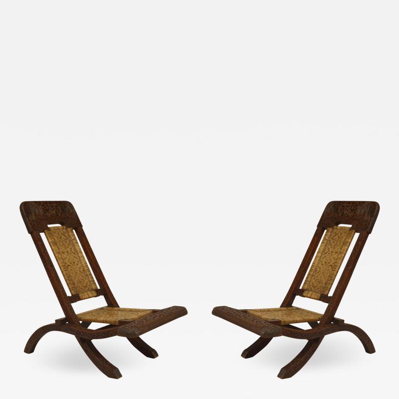 Pair of Asian Burmese Teak Folding Side Chairs