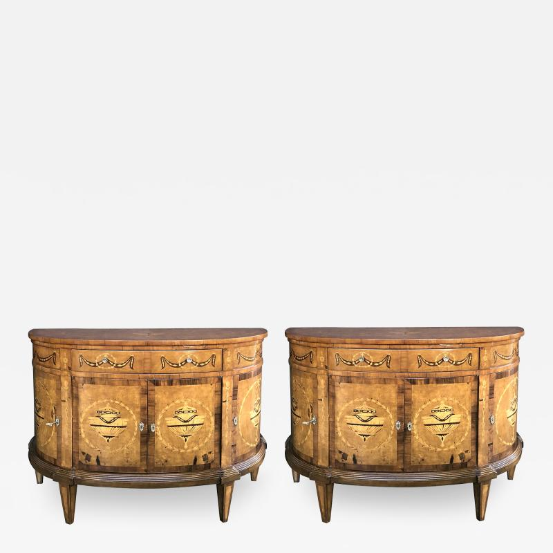 Pair of Baltic Neoclassical Style Marquetry Inlaid Demilune Cabinets