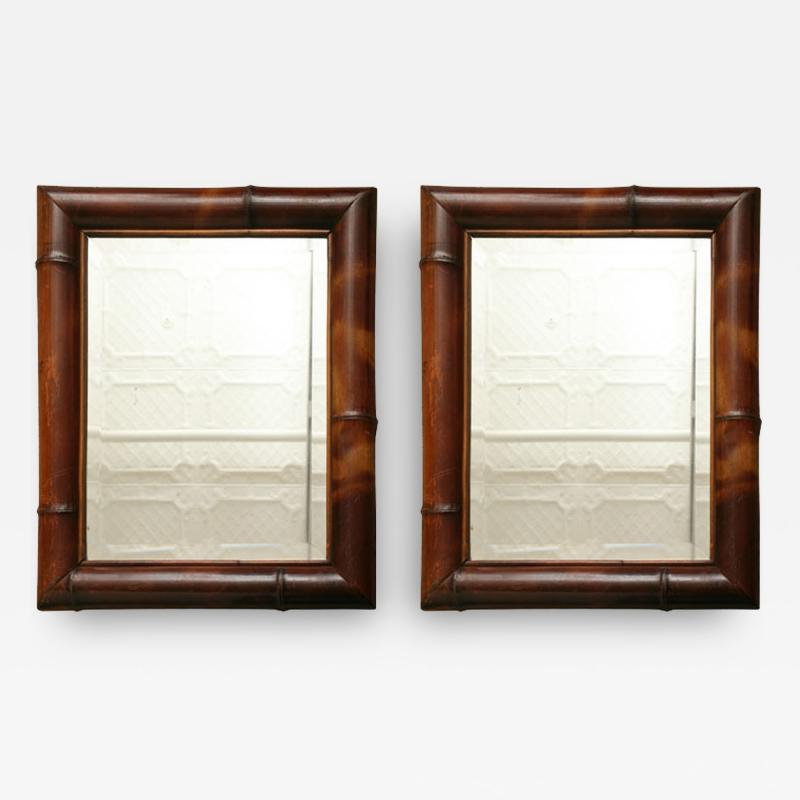 Pair of Bamboo Framed Mirrors