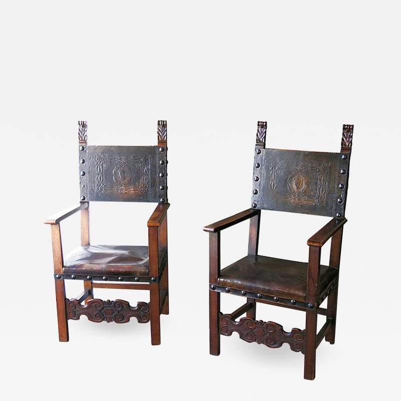 Pair of Baroque walnut arm chairs