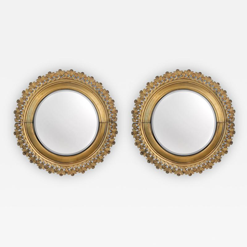 Pair of Berlin Cast Iron Circular Mirrors