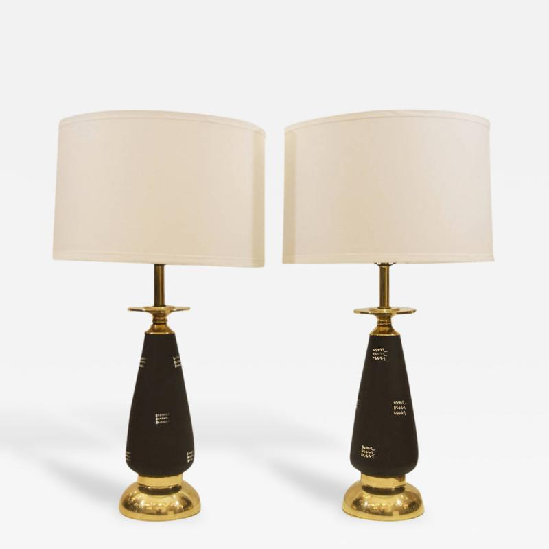 Pair of Black Enameled and Brass Table Lamps