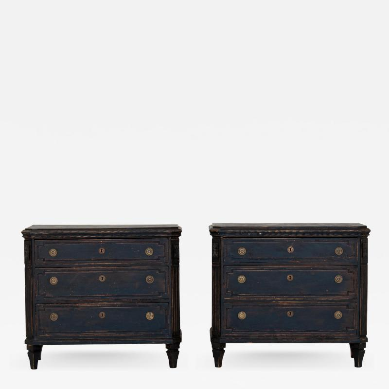 Pair of Black Gustavian Style Chests of Drawers