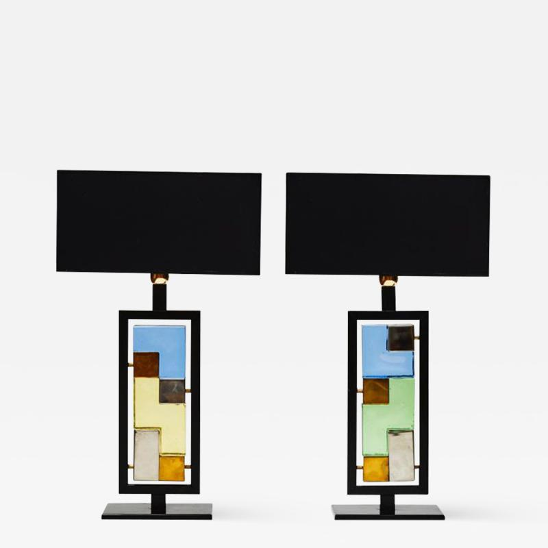 Pair of Black Metal and Colored Glass Bricks Table Lamps