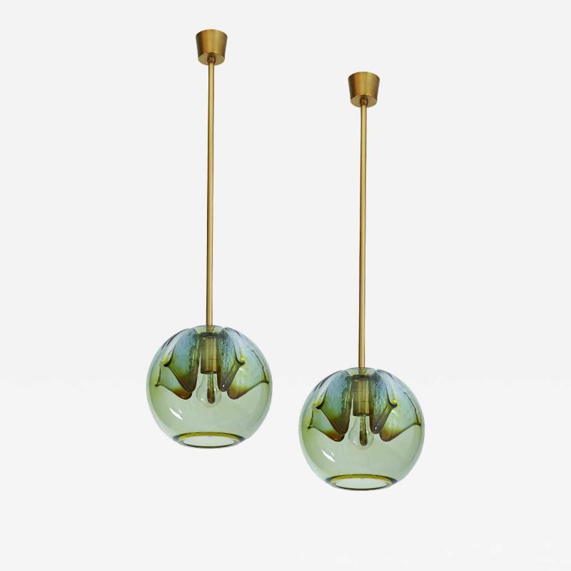 Pair of Blown Murano Glass Lanterns Italy 1970s