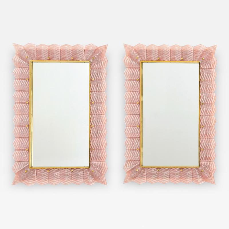 Pair of Blush Pink Textured Murano Glass and Brass Inlay Mirrors Italy