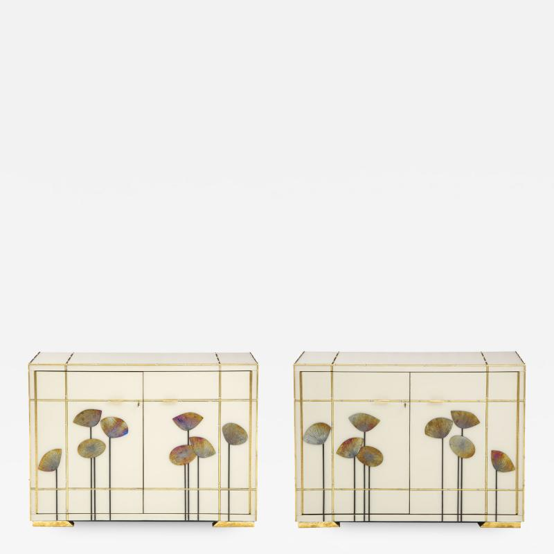 Pair of Brass Faux Bamboo and Ivory Murano Glass Dandelions Sideboards Italy