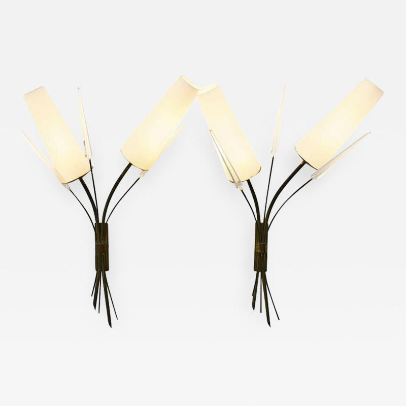 Pair of Brass Glass and Lucite Wall Sconces in the Style of Maison Arlus 1950s