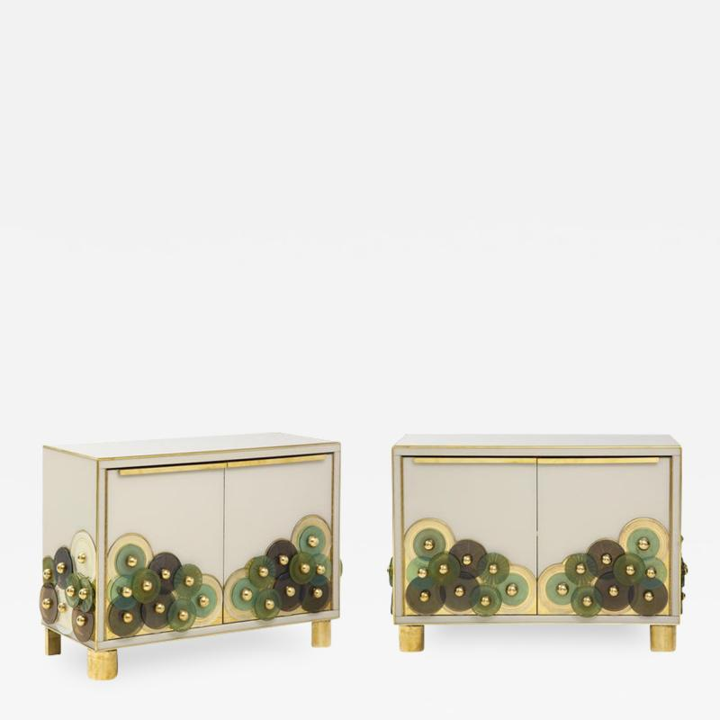 Pair of Brass and Ivory Murano Glass with Glass Discs Sideboards Italy 2021