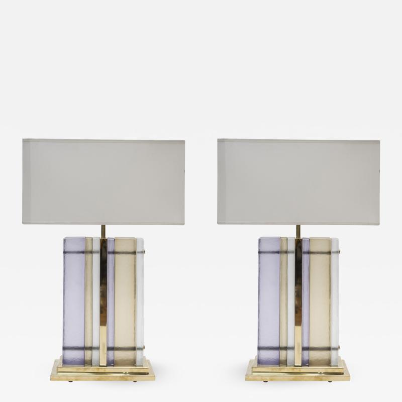 Pair of Brass and Sheets of Colored Murano Glass Table Lamps